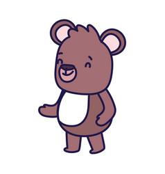 Cute brown bear cartoon character on white vector