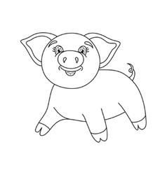 Cute pig coloring book vector