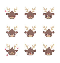 Cute reindeer expressions vector