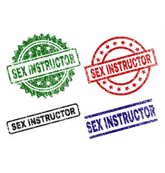 Damaged textured sex instructor seal stamps vector