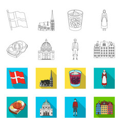 Denmark history restaurant and other web icon vector