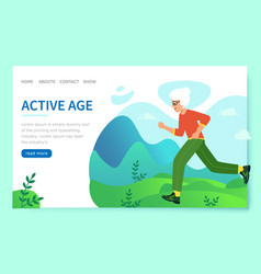 Design website active age elderly woman is vector