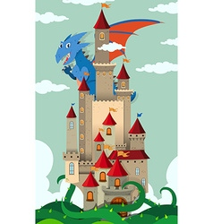 Dragon flying over castle vector