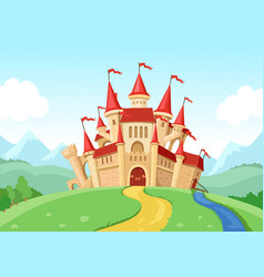 Fairytale castle fantasy landscape vector
