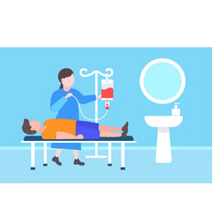 female doctor visiting to injured patient lying in vector image