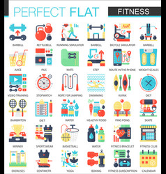 Fitness and sport complex flat icon concept vector