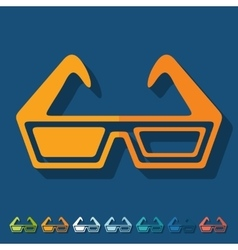 Flat design 3d glasses vector