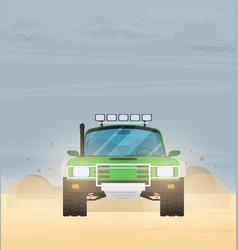 flat design car in motion on a safari trip vector image