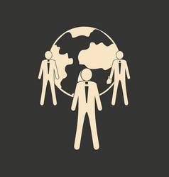 Flat in black white earth and people vector
