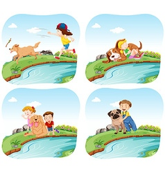 Four scenes with kids and dogs vector