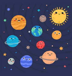 funny planets of solar system and sun with smiling vector image