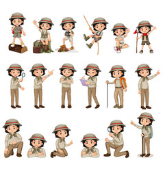 Girl in scout uniform doing different activities vector