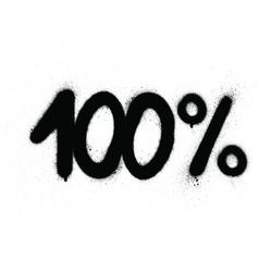 Graffiti 100 percent sign sprayed in black vector