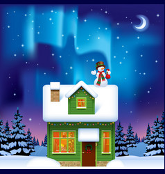 green wooden house with a snowman against vector image