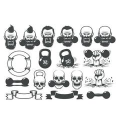 gym fitness set design elements for logo vector image
