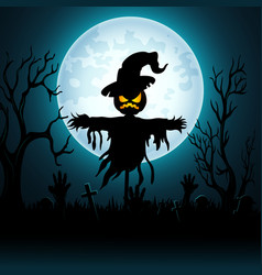 halloween background with scary scarecrow in grave vector image