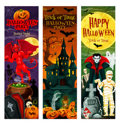 Halloween invitation banner for horror night party vector