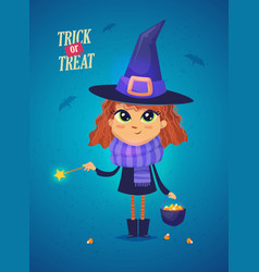 halloween witch girl in a witch costume funny vector image