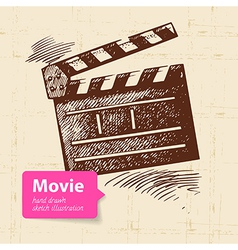 Hand drawn movie Sketch background vector image