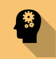 Head with gears brain activity icon with long vector