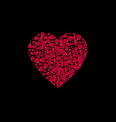 Heart shape filled with hearts on a black vector