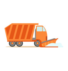 heavy truck with empty trailer part of roadworks vector image