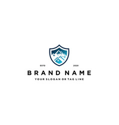 Home mountain shield logo design concept vector