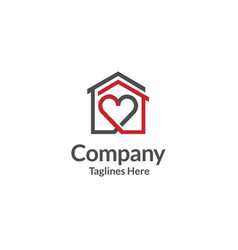 House and heart logo home care logo vector