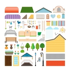 House elements windows and doors benches street vector