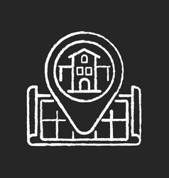 house location chalk white icon on black vector image