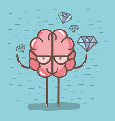 Icon adorable kawaii brain with a lot of diamond vector