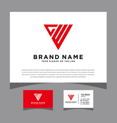 Initials gw logo with a business card vector
