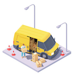 Isometric courier and delivery van vector