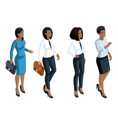 Isometric icons emotion a woman african american vector