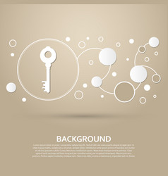 key icon on a brown background with elegant style vector image