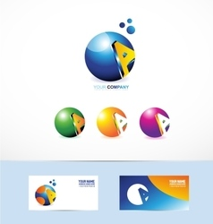 Letter A sphere logo vector image