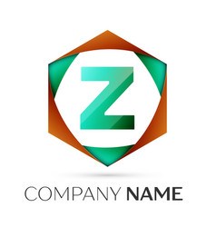 Letter z symbol in the colorful hexagonal vector