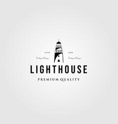 Lighthouse vintage logo design vector