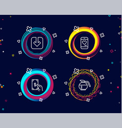 Load document receive money and love chat icons vector
