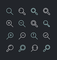 magnifying glass flat line icons search zoom in vector image