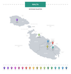 Malta map with location pointer marks infographic vector