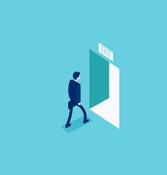 Man walking to exit through an open door vector