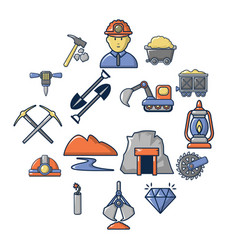 mining minerals business icons set cartoon style vector image
