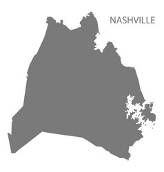 Nashville tennessee city map grey silhouette shape vector