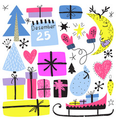new year s and christmas winter holiday symbols vector image