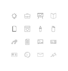 office simple linear icons set outlined icons vector image
