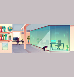 office workplace with transparent glass vector image