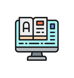 online education monitor with e-book flat color vector image