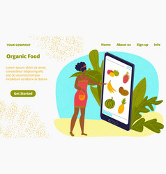 online organic shop food delivery healthy fruits vector image