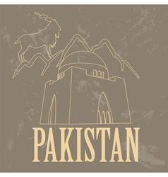 Pakistan landmarks Retro styled image vector